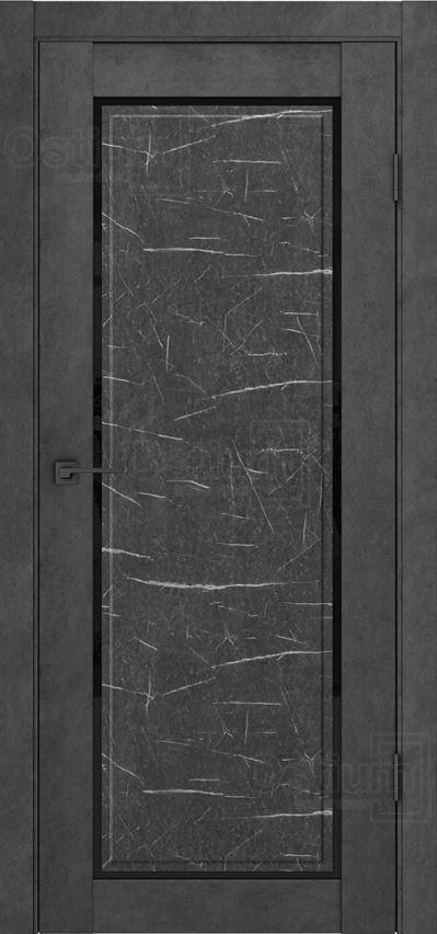 Межкомнатные двери Ostium F5-2 Лофт бетон графит и Торос черный